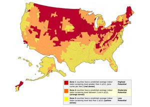 United States radon risk level map