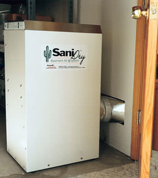 A Energy Efficient basement dehumidifier installed in a finished basement in Manitou Springs